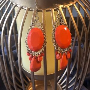 🌿Orange and Gold Chandelier Earrings